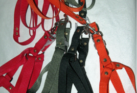 КОМПЛЕКТЫ (поводок с ошейником, поводок со шлейкой) из кожи, кож.зама и стропы